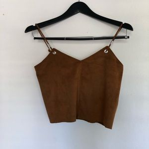 Tops - Faux leather brown top